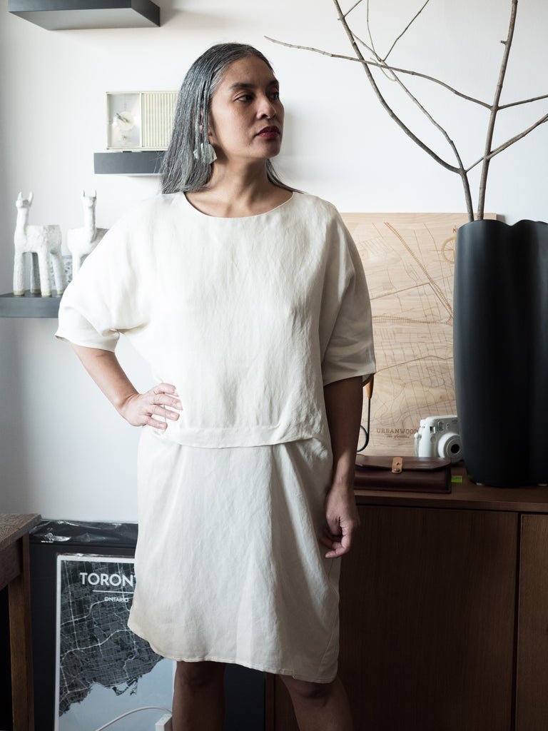 Valerie Dumaine Clothing SS19 Tiara Dress Ivory Cupro Linen Tencel Dress Eco Fashion Eco Friendly Clothing Sustainable Clothing Ethically Made Dress Canadian Made Victoire Boutique ethically made capsule wardrobe sustainable fashion Canadian Fashion