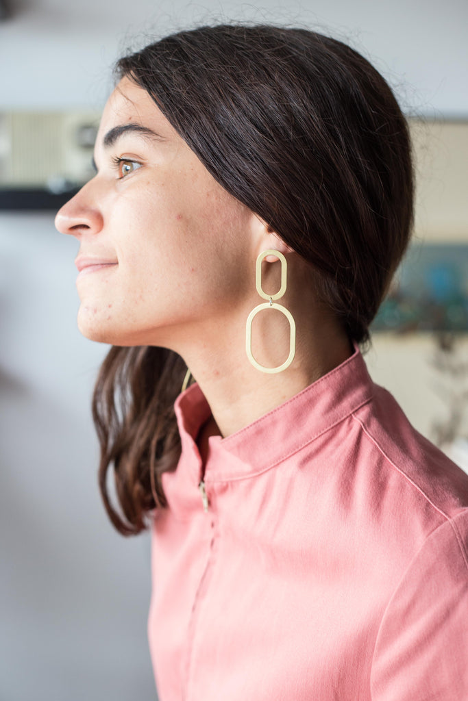 Natalie Joy Jewelry Portland Composition Collection Double Oval Earrings Brass Statement Earrings Ships from Canada