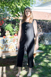 Birds of North America Clothing Tropicbird Jumpsuit in Black. Black Cotton Linen Sleeveless Jumpsuit.