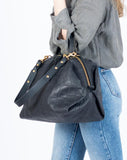 Eleven thirty shop Katie XL Black Croc Embossed Leather Duffle style Bag Carry All Purse Overnight Bag Travel Purse Made in Canada Canadian Leather Goods Zero Waste Leather Bag Sustainable Fashion Slow Fashion Victoire Boutique