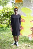 Valerie Dumaine Clothing Montreal FW2020 Jesse Dress Black Sheer Long Sleeve Knee Length Holiday Dress.