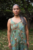Birds of North America Clothing Toronto Bobwhite Jumpsuit Sage Green Floral. Sleeveless Tank Style V-Neck Wide Leg Jumpsuit.