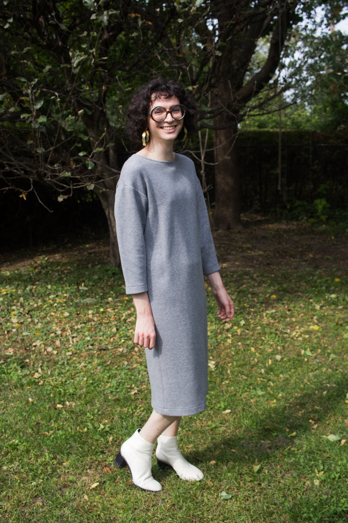 Birds of North America Clothing Toronto Canada Synallaxe Dress Grey. Long Sleeve Scoop Neck Drop Shoulder Heavy Knit Sweater Tunic Dress.