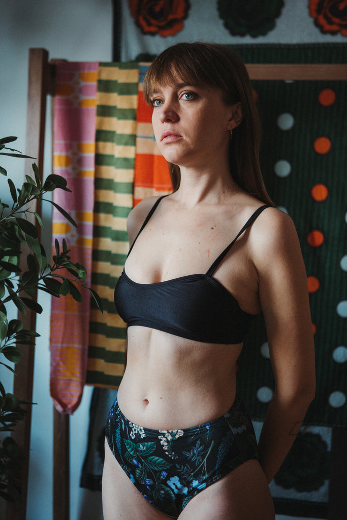 Minnow Bathers Swimwear Primrose Bikini Top Nightshade Black Bra Top Swim Top Made in Toronto Made in Canada Canadian Swimwear Canadian Design Victoire Boutique