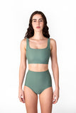 Victoire Boutique Minnow Bathers Iris Top in sage tank style bathing top with square neckline and scoop back handmade in Toronto made in Canada independent designer