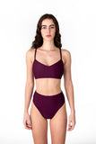 Victoire Boutique Minnow Bathers Posy bottoms in plum french cut bathing suit bottoms handmade in Toronto made in Canada independent design