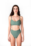 Victoire Boutique Minnow Bathers Posy bottoms in sage french cut bathing suit bottoms handmade in Toronto made in Canada independent design
