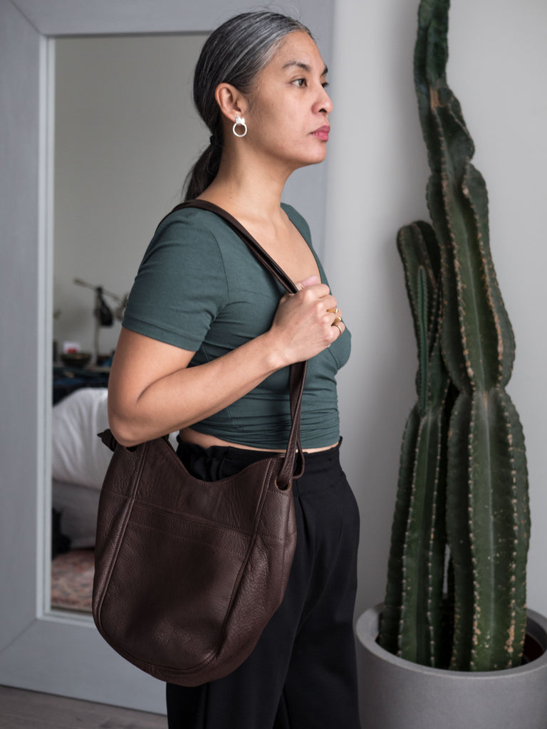 Erin Templeton Leather Bags Tote Leather Chocolate Brown Leather Purse made in Vancouver Canadian Fashion Victoire Boutique