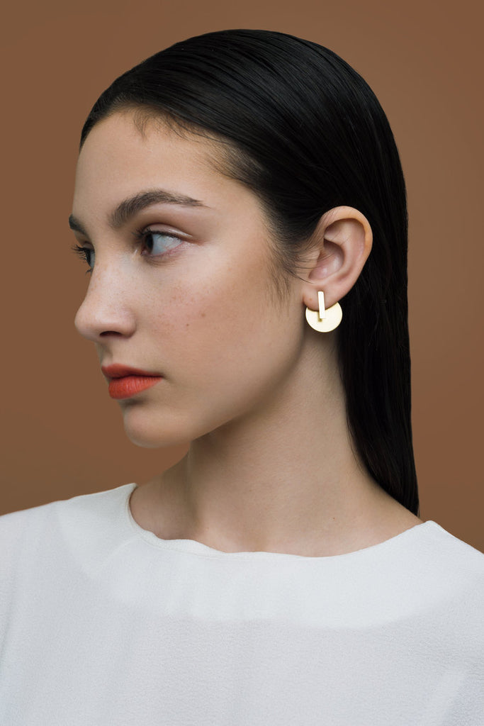 Natalie Joy Jewelry Dual Shape Ear Jacket Studs Brass Absence and Form Collection Ships from Canada Made in Portland Oregon Victoire Boutique
