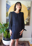 Eve Gravel Clothing Montreal FW2020 Willow Dress Black Organza. Straight Cut Mini Dress with Long Sleeve Billow Bishop Whimsical Voluminous Sleeves.