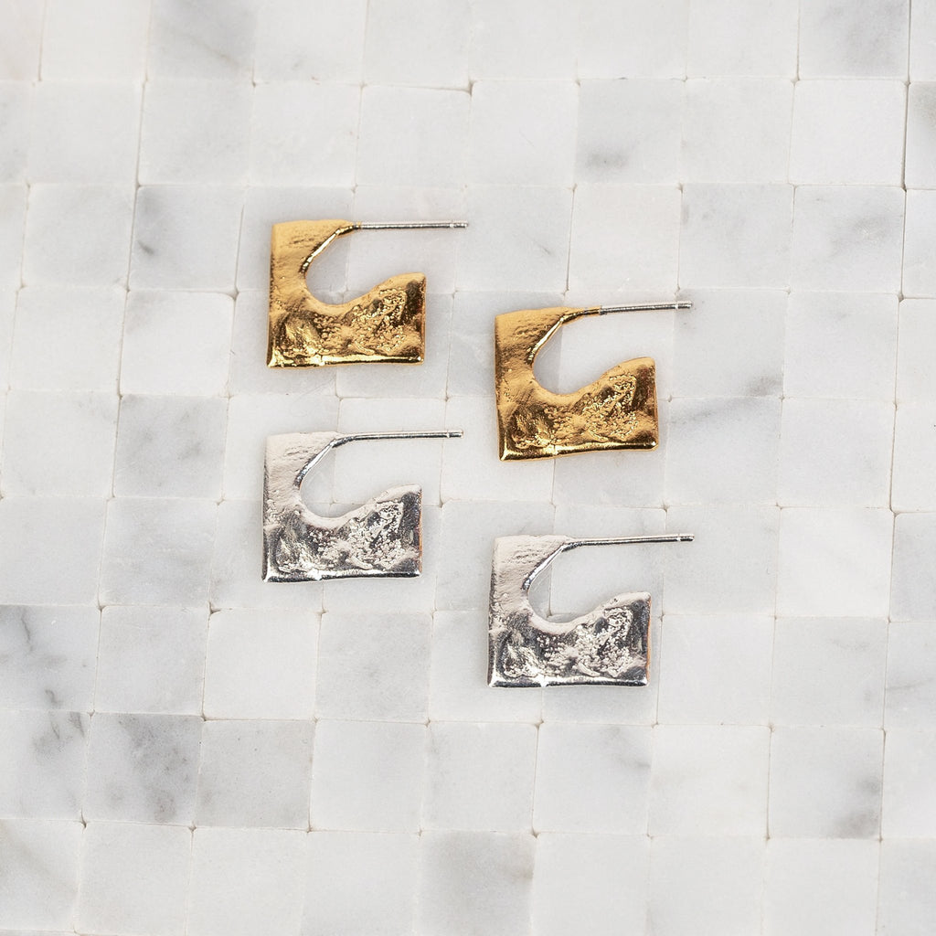 Par Ici Jewelry Mini Square Studs Gold or Silver Stud Square Earrings Made in Toronto Best of Indie Jewelry Designers Victoire Boutique Canadian made Jewelry
