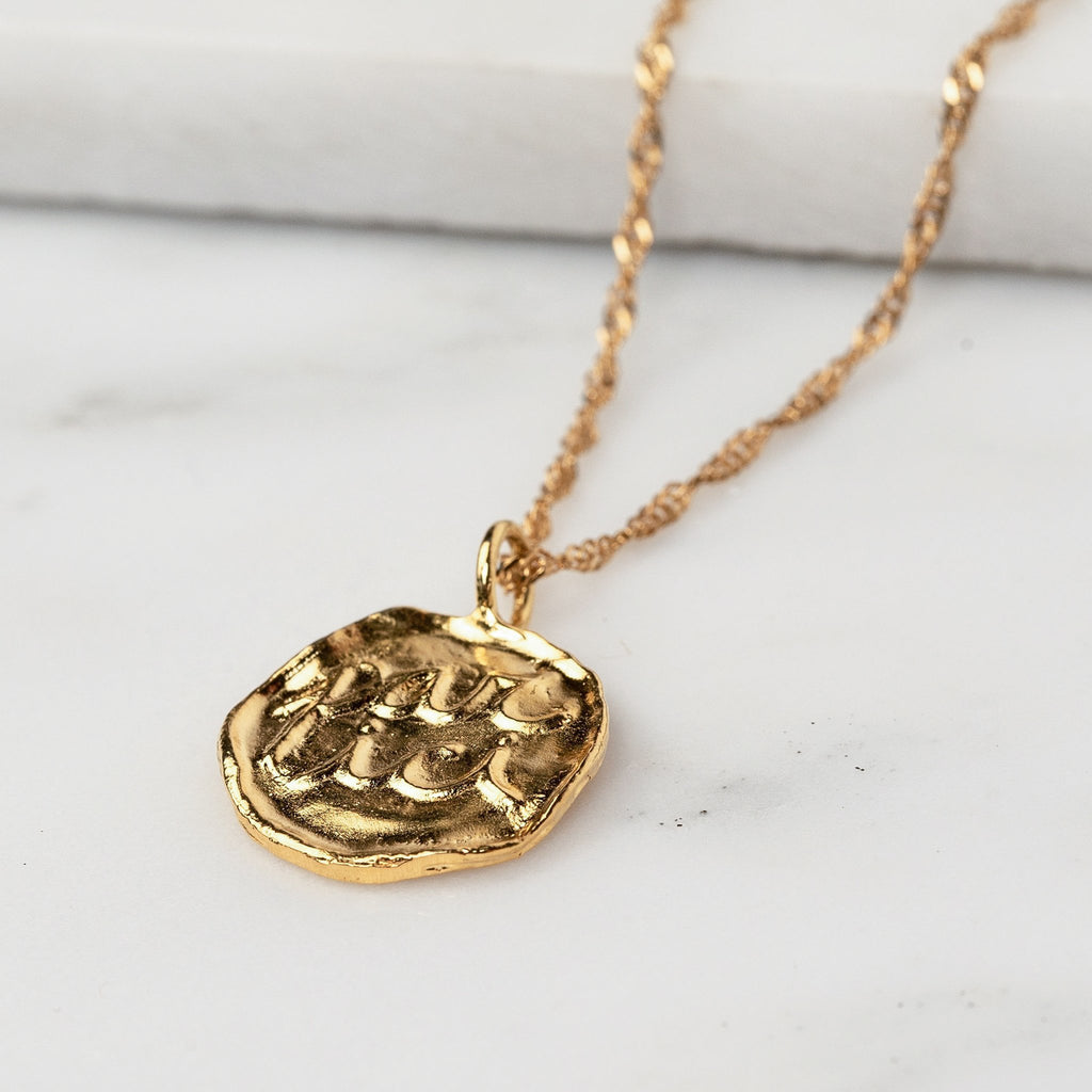 Par Ici Jewelry Toronto Par Ici Pendant Necklace Gold or Rhodium Plated Silver Emblem Necklace Alynne Lavigne Ethical Fashion Handmade Jewelry Best Of Indie Jewelry Designers Victoire Boutique Canadian Fashion