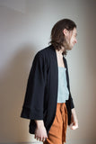 Odeyalo Clothing Montreal Bloom Kimono Textured Black. Unisex Cotton Athleisure Loungewear Open Kimono Coat.