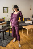 Birds of North America Clothing Toronto Dickcissel Jumpsuit Shadow Plum. Puff Sleeve Full Pants Cotton Jumpsuit with Scoop Neck.