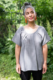 June Isle Clothier British Columbia Marigold Top Grey Stripes. Gauzy Light Summer Blouse.