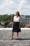 Hannah Isolde Goodman Sadie Skirt Black. A-Line Linen Wrap Skirt.