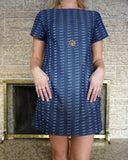 Nokomis Clothing Edmonton Thora Dress in Denim Triangles. Made in Canada Canadian Fashion Victoire Boutique