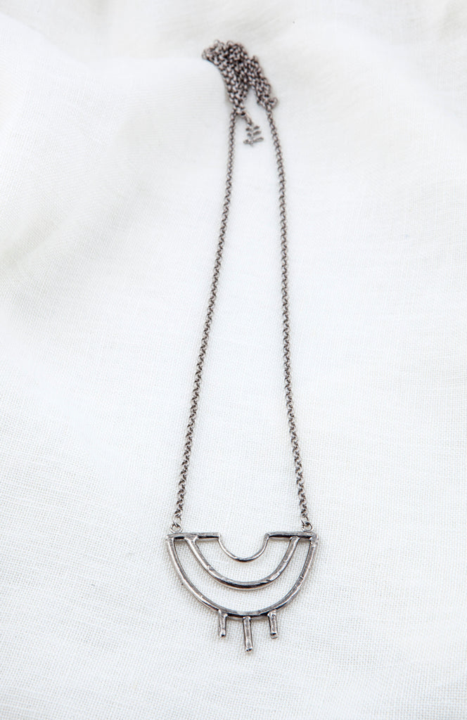 Hawkly Jewelry Toronto Venus Necklace Bronze or Silver. Minimalist Hand Carved Long Pendant Necklace.