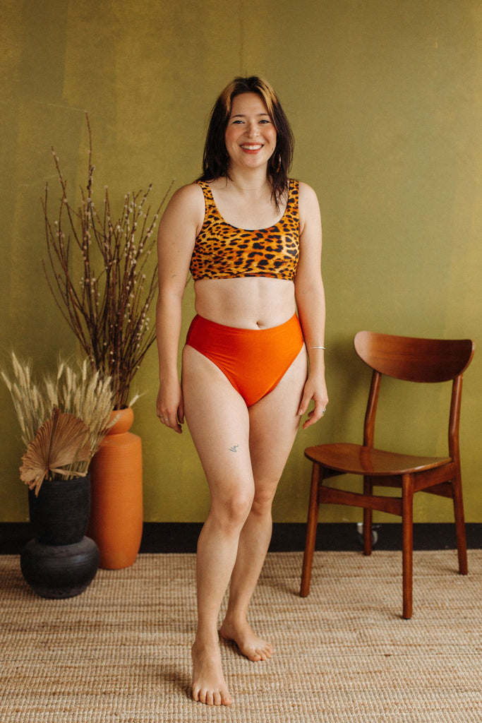 Minnow Bathers Wild Cat Capsule Collection Lion Bottoms Bright Orange French Cut Bikini Bottoms High Waisted Made in Toronto Slow Fashion Sustainable Swimwear Victoire Boutique