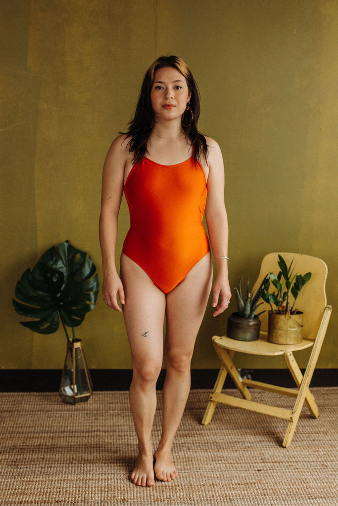 Minnow Bathers Wild Cat Capsule Collection Tiger Maillot Open Back One Piece Bathing Suit Coral Orange Made in Toronto Slow Fashion Sustainable Swimwear Victoire Boutique