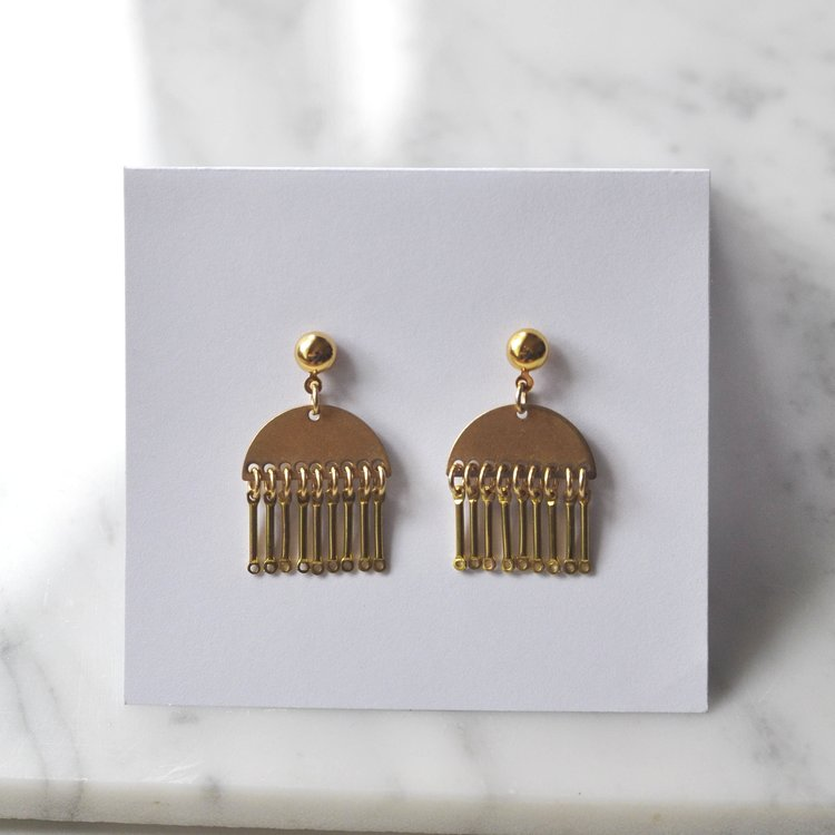 Oneiro Jewelry Saskatchewan Vondelpark Earrings. Brass Fringe Stud Earrings.