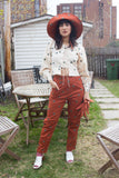 Samantha Pleet Clothing New York City Fauna Pants Sienna High Waisted Vintage Inspired Pants with Forget Me Not Embroidery. Independent Designer American Designer Woman Owned Business. Whimsical Feminine Vintage Inspired Clothing. Eco-Friendly Fair Trade Sustainable Small Batch. Free Shipping in Canada. Victoire Boutique Canada.