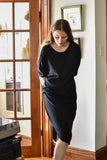 Valerie Dumaine Clothing Montreal FW2020 Odessa Dress Peacock Black. Dropped Shoulder Cap Sleeve Crew Neck Dress with Side Pleat.