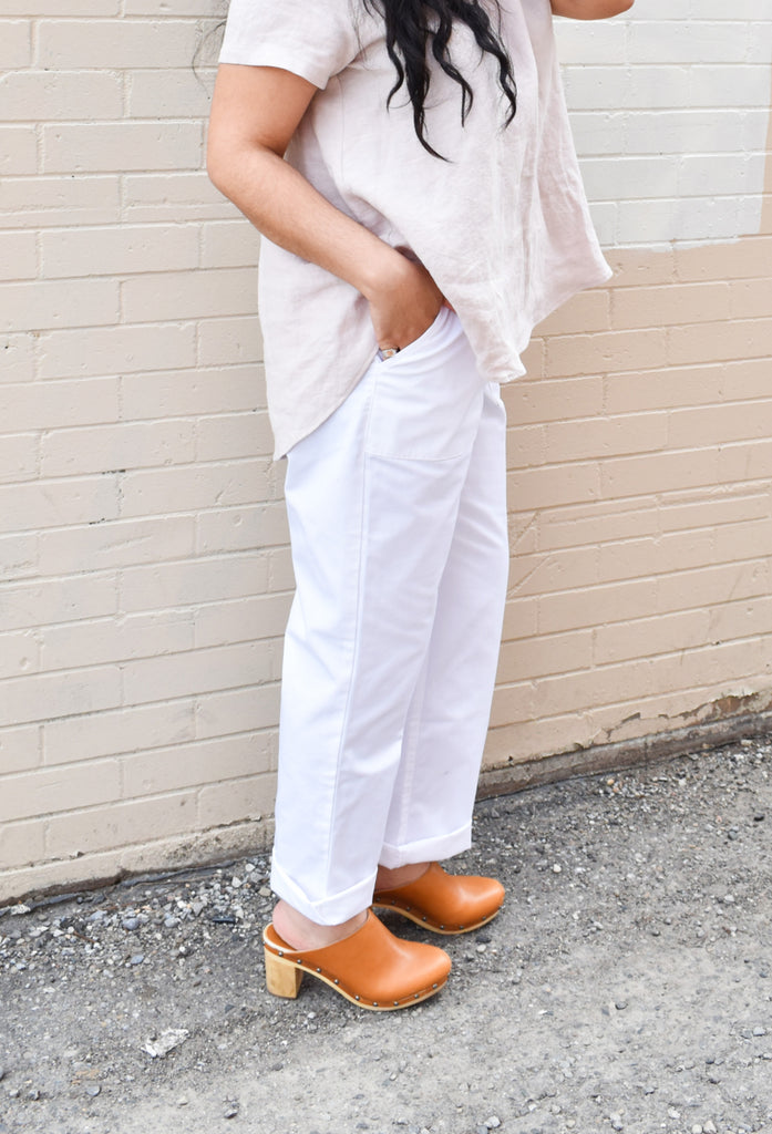 Iris Denim Toronto Borderline Pants in White Cotton Workwear Trouser High Waisted Vintage Inspired Pants Made in Canada Jeans Canadian Fashion Victoire Boutique