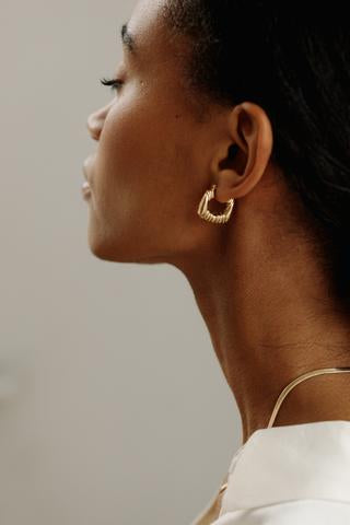 Lisbeth Kate Earrings chunky gold hoops made in Toronto Victoire Boutique