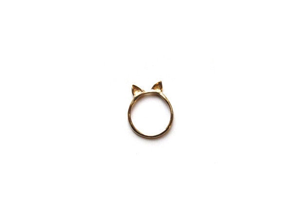 Elaine Ho gold cat ears ring