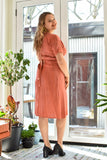 Victoire Boutique Birds of North America Hookbill Dress Sand Washed Coral Spring Summer 2020 Ethical Sustainable Slow Fashion Made in Canada
