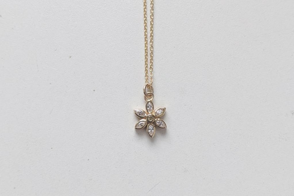 Little Gold Daisy Necklace Victoire Boutique Made in Canada Sustainable Jewelry Ethical Ethically Made Jewellery Made in Victoria BC British Colombia Female Owned Business Solid Gold Gold-Filled Vermeil