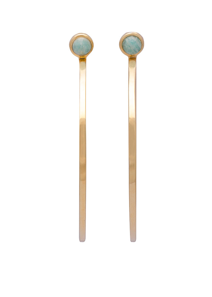 Sarah Mulder Jewelry Ignite Large Hoops Gold Plated Amazonite Labradorite Moonstone Earrings