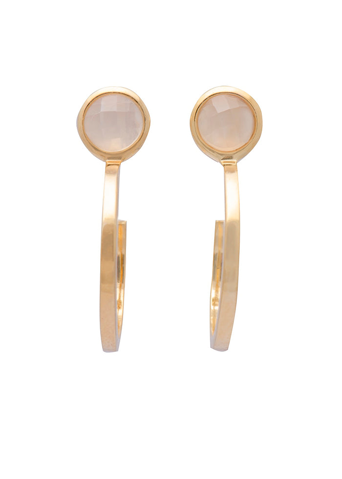 Sarah Mulder Jewelry Ignite Pull Hoops Small Gold Plated Moonstone Labradorite Amazonite