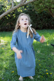 June Isle Clothier British Columbia Willow Dress Blue Sustainable Children's Clothing