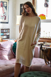 FFORM Clothing Toronto Peru Panelled Dress Natural Beige Tan. Long Sleeve Crew Neck Pannelled Tunic Dress Peruvian Cotton.
