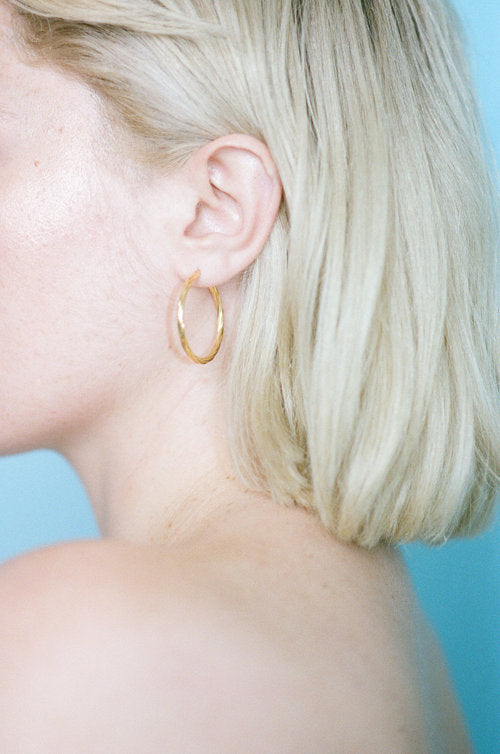 Eleventh House Jewelry Flaxen Hoops Gold Vermeil Made in Toronto Gold Hoop Earrings Victoire Boutique