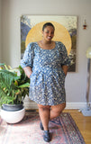Victoire Boutique Birds of North America Courian Dress Blue Clover Ethical Sustainable Fashion Fall Wardrobe Made in Canada Puff Sleeve Fall Dress Extended Sizing