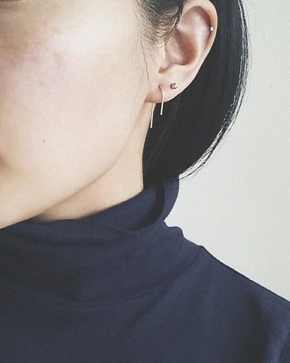 Nepheliad Jewelry Hi Lo Earrings Goldfill Sterling Silver Minimalist earrings made in Vancouver Victoire Boutique