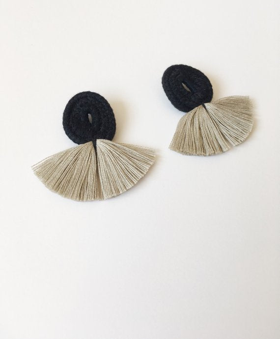 Cartouche MTL Jewelry Montreal Noemie Earrings Grey or Tan. Fibre Arts Minimalist Statement Fringe Earrings.