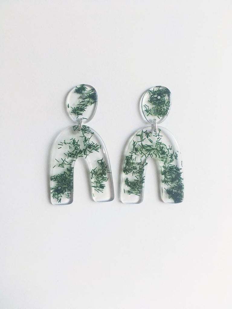 Cartouche MTL Jewelry Clemence Earrings. Resin Jewelry. Recycled Textile Fibres. Organic Form. Asymmetrical Statement Bold Dangling Earrings.