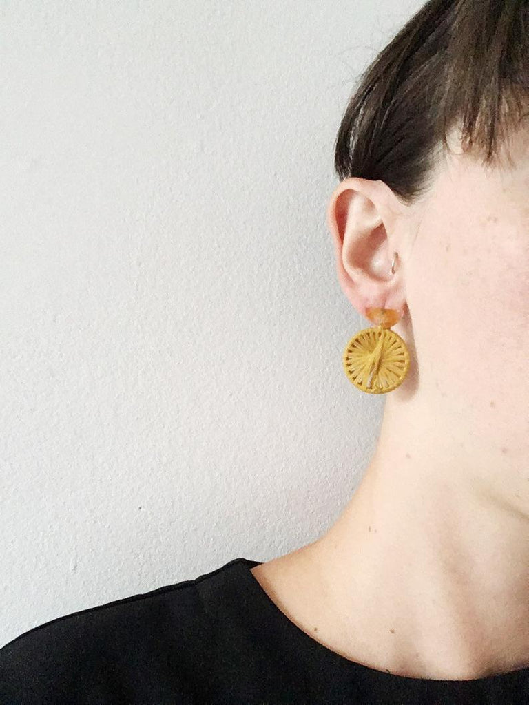 Cartouche MTL Jewelry Lola Earrings Recycled Textile Fibre Jewlery.