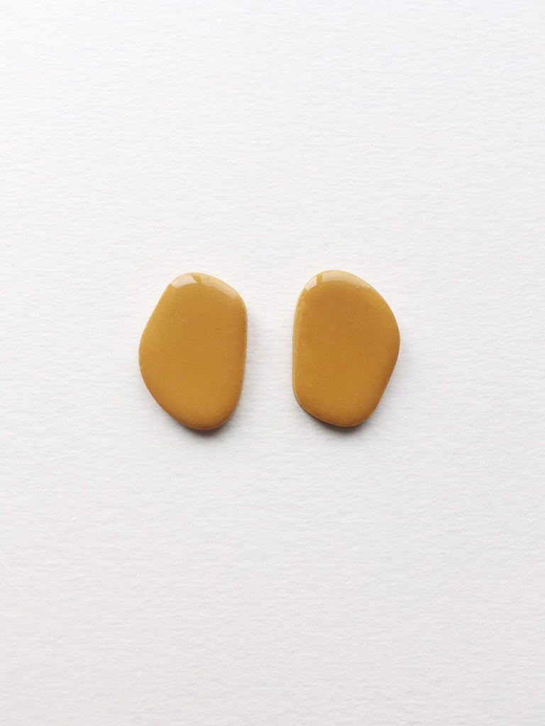 Cartouche MTL Jewelry Innes Earring. Resin Jewelry. Organic Form. Asymmetrical Statement Bold Studs.
