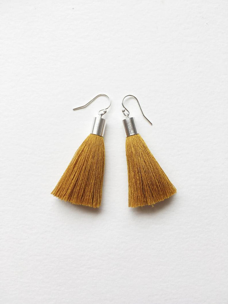 Cartouche MTL Jewelry Little Fringe Mini Tassel Earrings. Recycled Textile Fibre Jewelry.