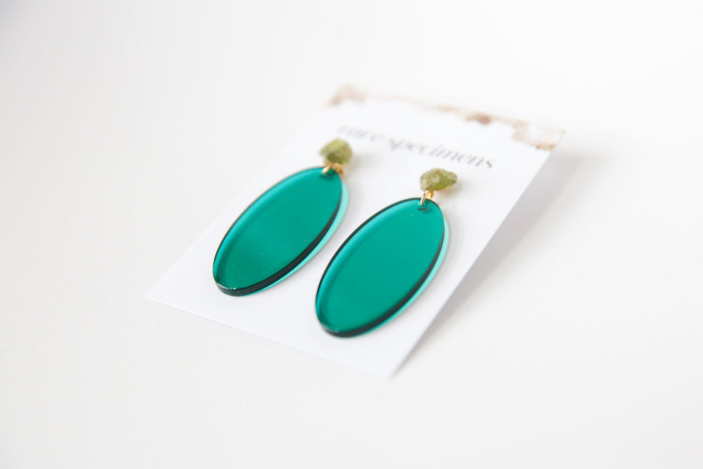 Rare Specimens Acrylic Oval Drop Earrings (Green)