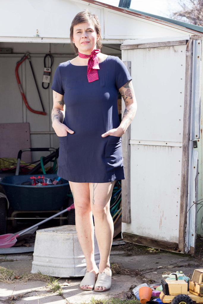 Nokomis Clothing Edmonton Thora Dress in Navy. Made in Canada Canadian Fashion Victoire Boutique