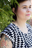 Nokomis Clothing Edmonton Pacific Dress in Black and White Triangle Print Made in Canada Canadian Fashion Victoire Boutique
