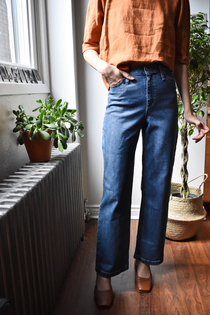 Iris Denim Toronto Line Up Jeans Medium Blue Wash Denim High Waisted Straight Leg Jeans Pants Made in Canada Denim Victoire Boutique