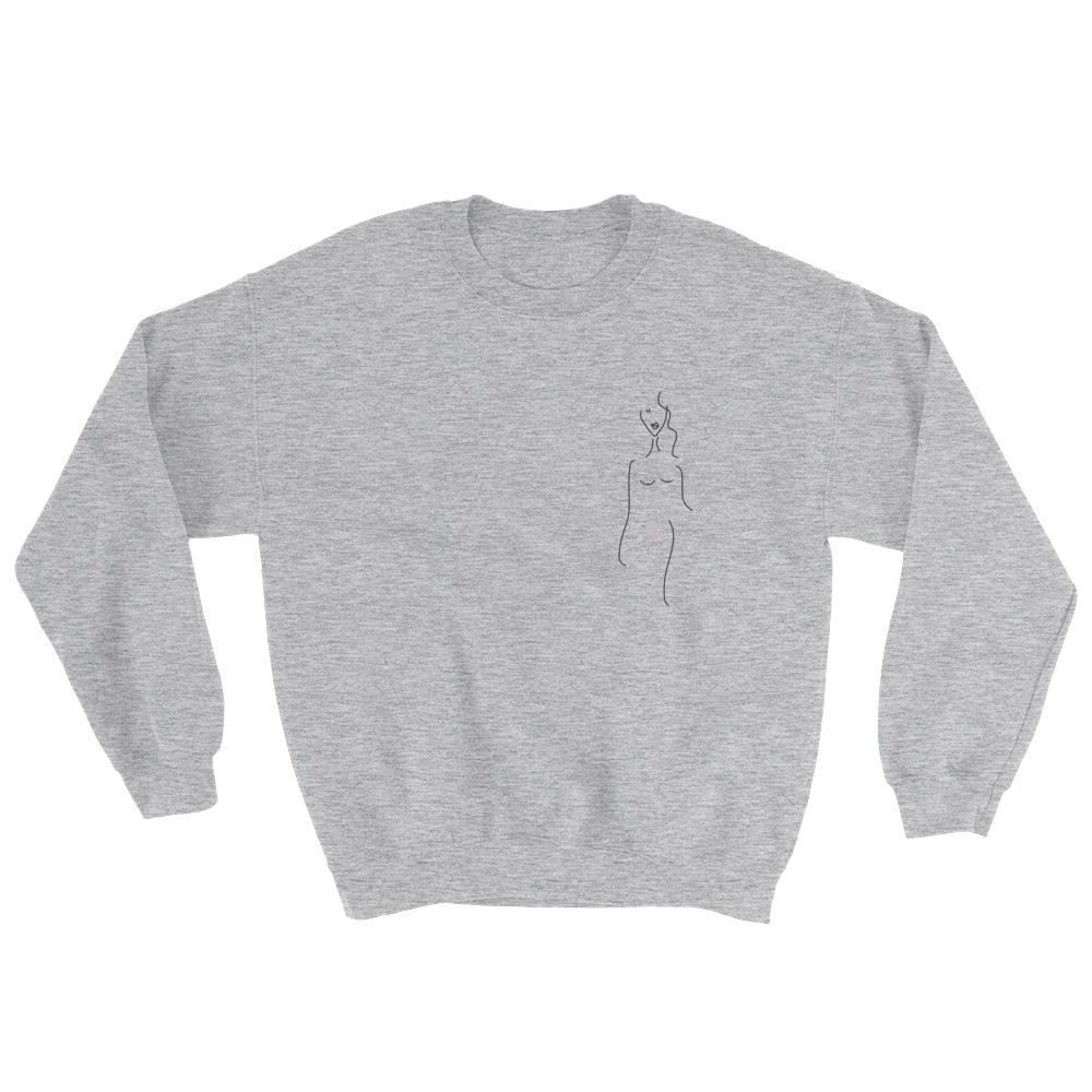 BB Bush Clothing Lola Crew Neck Sweater Heather Grey Feminist Clothing Company Feminist Art Made in Halifax Canadian Fashion Victoire Boutique