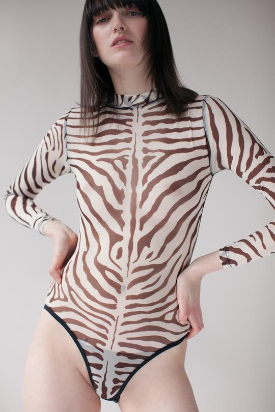 Bully Boy Lingerie Toronto Loretta Bodysuit in Zebra Print Mesh Long Sleeve Sheer Bodysuit Lingerie Made in Canada Ethically Made Lingerie Victoire Boutique Slow Fashion Indie Lingerie Brand